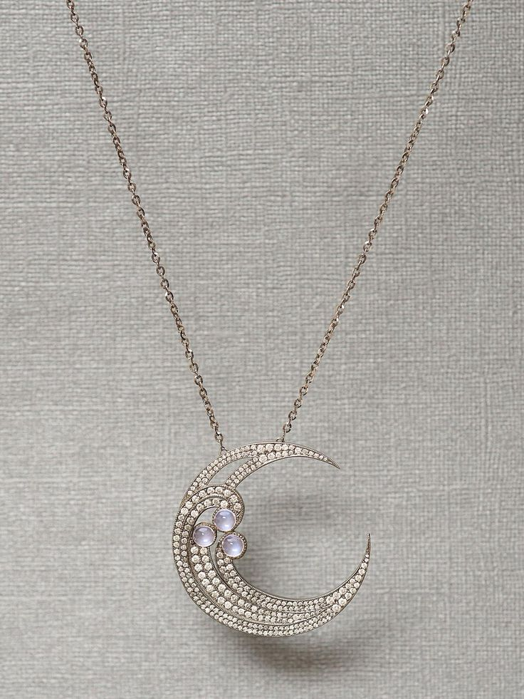 18k Half Moon Diamond Pendant Necklace