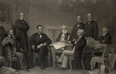 Background and Significance of the Emancipation Proclamation: Engraved print of Lincoln reading a draft of the Emancipation Proclamation to the cabinet.