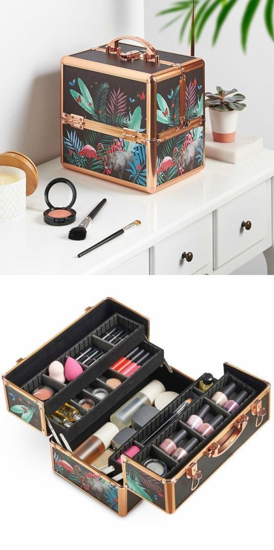 Special Floral Print Professional Makeup Train Case--Joligrace Travel makeup case with mirror Artis makeup case Makeup vanity with storage Makeup organizer ...