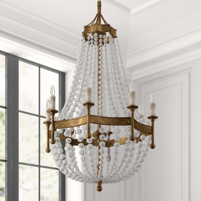 8 Light Candle Style Empire Chandelier With Crystal Accents
