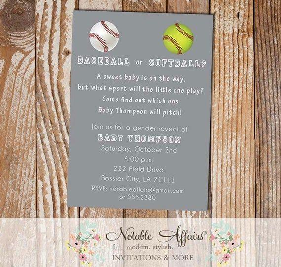 Baseball Or Softball Baby Shower Gender Reveal Party Invitation Wording Can Baseball Gender Reveal Gender Reveal Invitations Gender Reveal Party Invitations