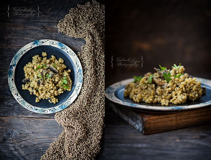 Risotto with mushrooms and turmeric photography