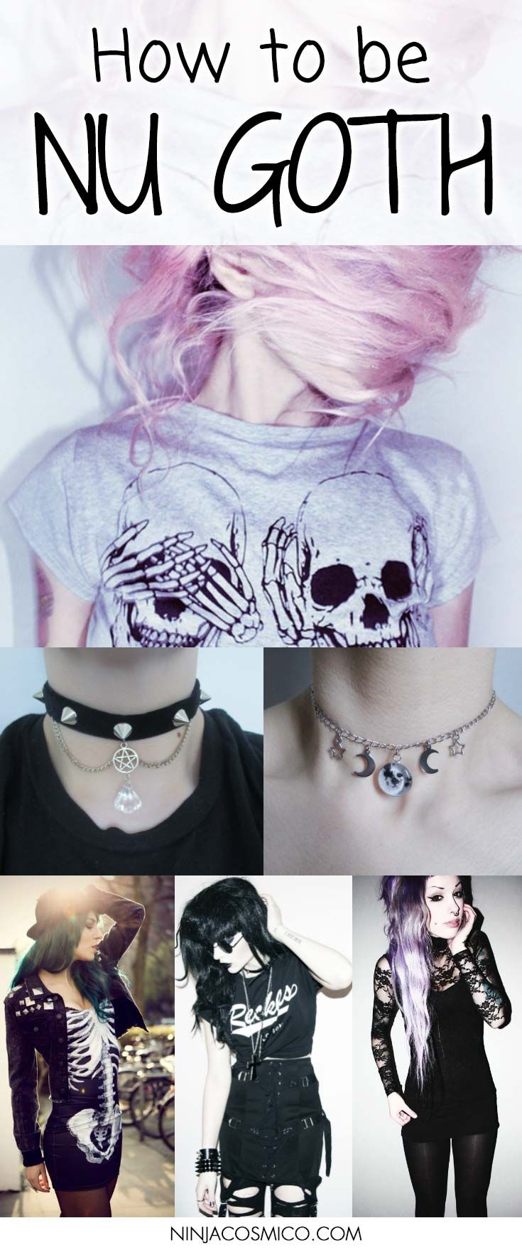 How to be Nu Goth - Want to look like the darker sister of Pastel Goth? Then check this! We'll describe you all the steps to be Nu Goth: Round glasses, Doc Martens boots, bondage inspired harnesses, black lipstick and much more! Read the article and share it to your friends: http://ninjacosmico.com/how-to-nu-goth/