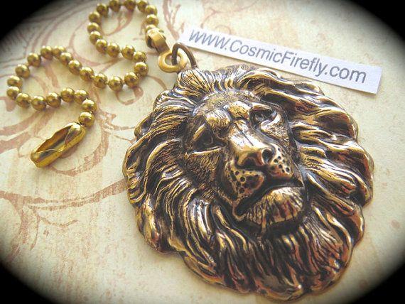Lion Fan Pull Steampunk Ceiling Fan Pull Chain by CosmicFirefly