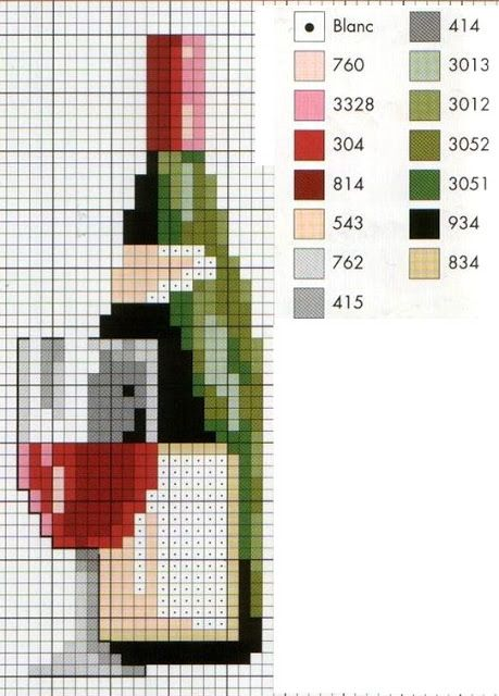 Wine and Glass in Cross Stitch