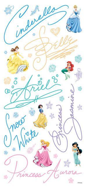 Disney Princess Stickers Disney Princess Signatures by iluvdesign, $2.55