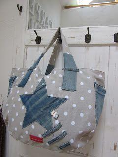 Upcycling mit alter Jeans, Beach Bag, PedisHandmade, http://de.dawanda.com/product/83763855-beachbag-naehen-e-book-strandtasche-upcycling