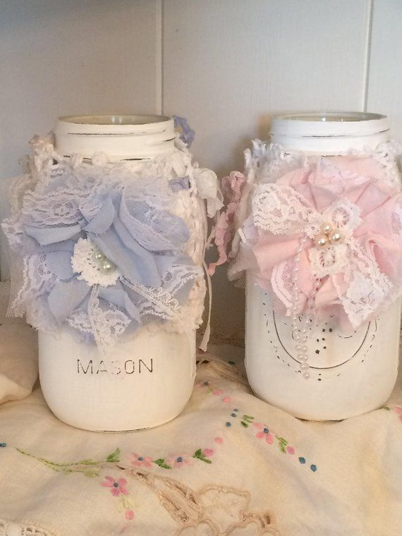 Baby Shower Mason Jar Decor Baby Shower Decor Shabby Chic Baby