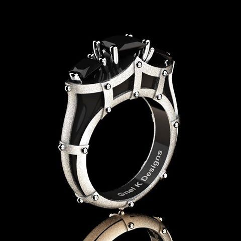 French 14K Black and White Gold Three Stone Princess by artmasters