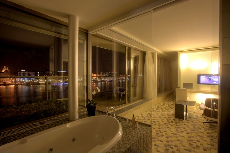 Panorama suite on top of Lanchid 19 design hotel in Budapest.