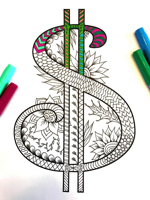 "Dollar Sign Zentangle - Inspired by the font ""Harrington"""