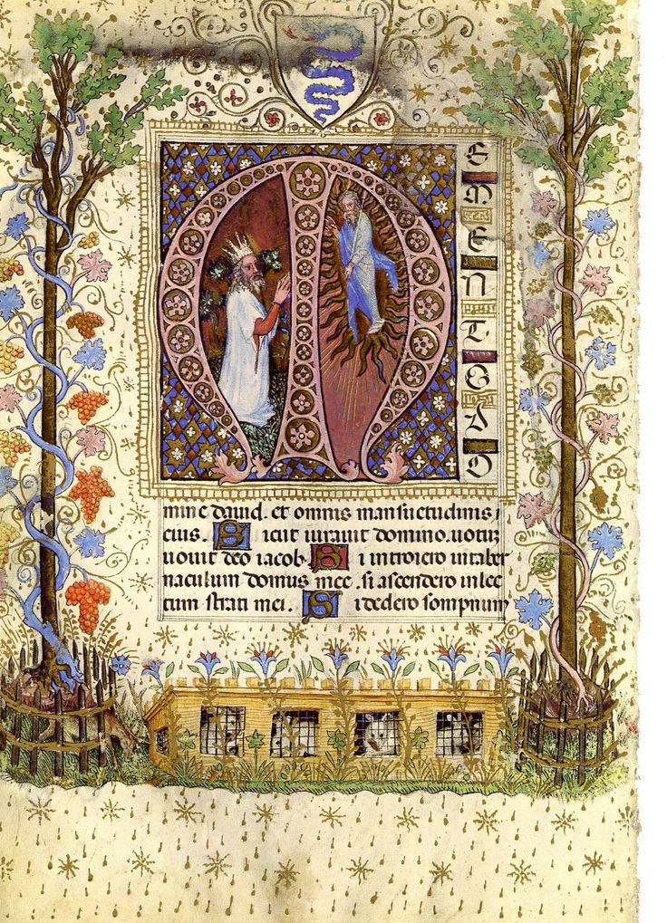 """Book of Hours"" from about 1400 AD. Illuminations of Psalms for CGS"