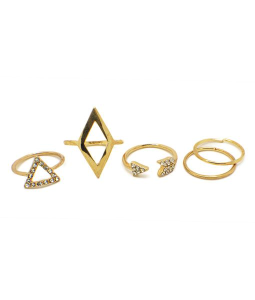 Gold Stacking Rings Set Of Five - £11.99