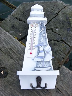 Rustic Blue and White Lighthouse Thermometer