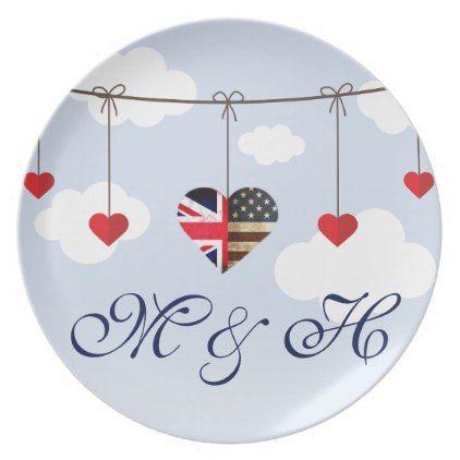 British American Love Hearts royal wedding Melamine Plate - wedding decor marriage design diy cyo party idea