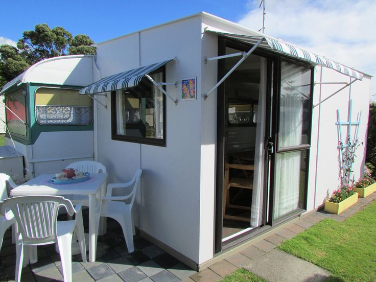Awning exterior - Vintage Retro Caravan, Cosy Corner Holiday Park, Mt Maunganui, New Zealand