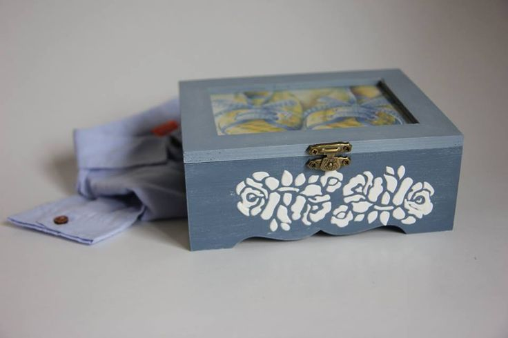 Decoupage box, vintage, baby boy, chabby chic