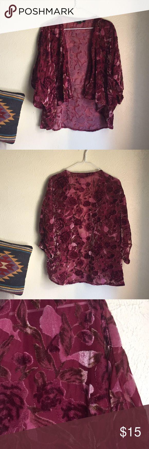 Forever 21 kimono Forever 21 velvet rose kimono. Pink/maroonish roses. Like new condition. Size Large. Forever 21 Sweaters