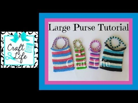 Rainbow Loom LARGE PURSE / Tablet Sleeve (2 looms). Designed and loomed by Jacy at Craft Life. Click photo for YouTube tutorial. 05/23/14.