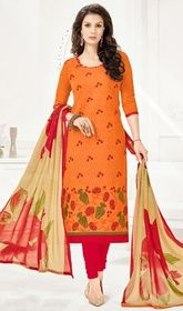 Orange Color Cotton Embroidered Churidar Dress #dresschuridarphotos #churidarkurta Style yourself with delicacy wearing this orange color cotton embroidered churidar dress. The lace work appears chic and excellent for any event. USD $ 55 (Around £ 38 & Euro 42)