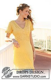"Ravelry: 111-4 Dress in ""Muskat"" with lace pattern, short sleeves and crochet borders pattern by DROPS design"