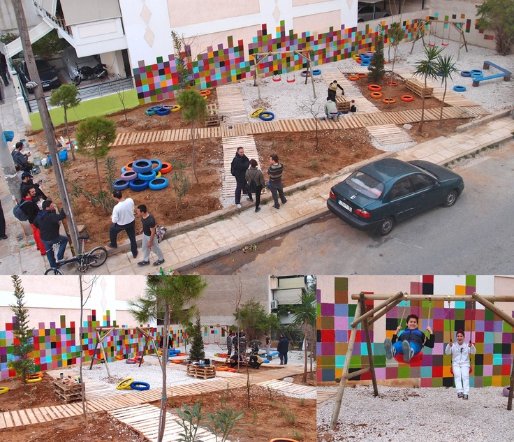 a DIY Pocket Park mabe by upcycled materials (wooden palettes, tires etc) at Stenimaxou Str.,Sepolia, Athens.