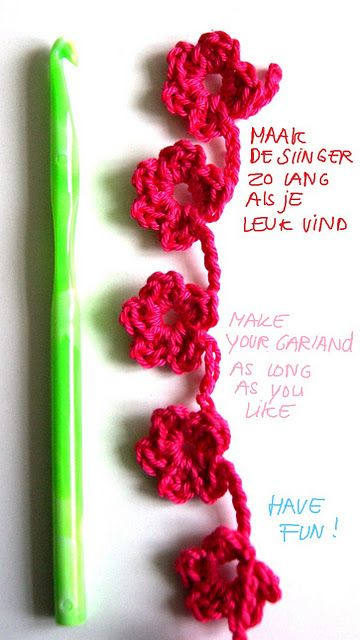 Easy flower #garland, by Ingthings. #crochet