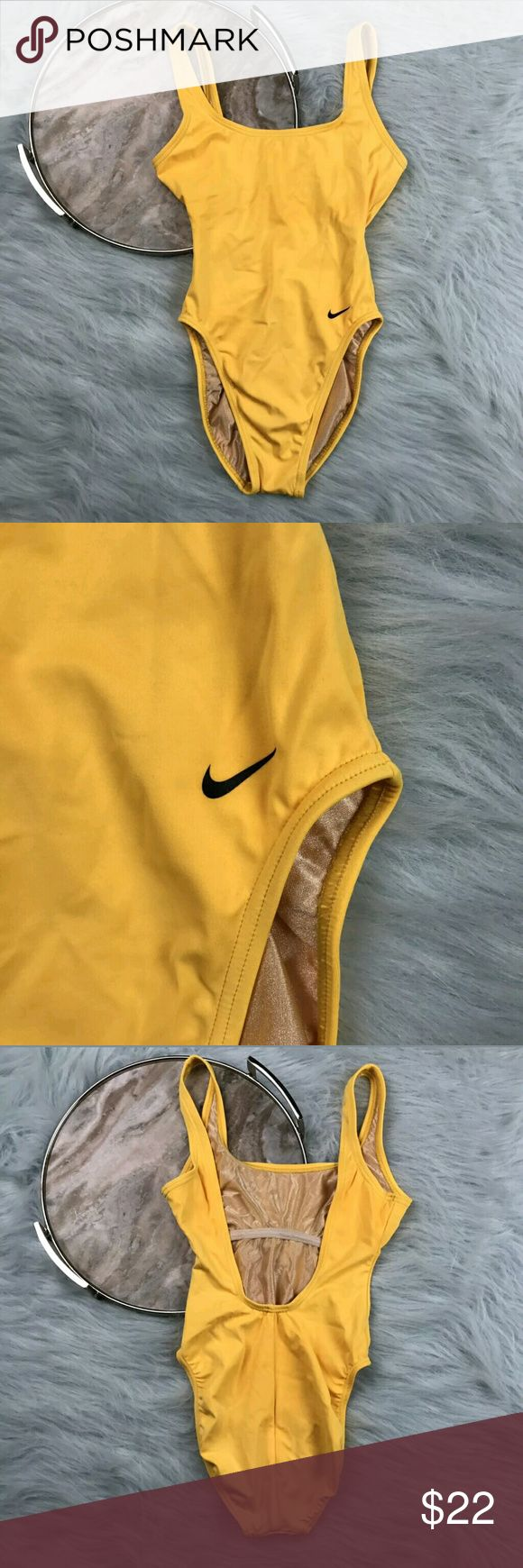 """Nike One Piece Swimsuit High Cut Vintage Nike yellow one piece high cut swimsuit. Womens size 8. Gently used, without flaws. See pictures for details.  Armpit to Armpit - 14"""" Length -  25""""  Inventory CLTDR Nike Swim One Pieces"""
