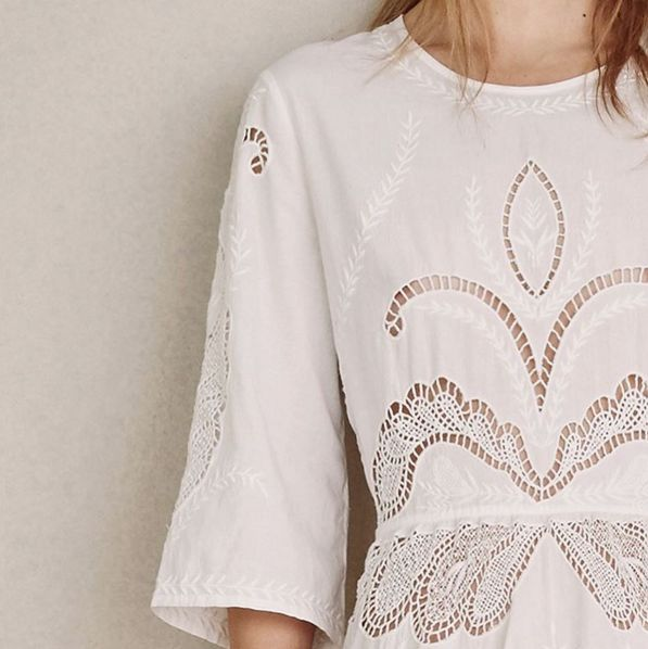 IRO | white cotton embroidered dress