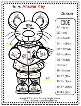 Color By Numbers Christmas Critters Advance Multiplication And