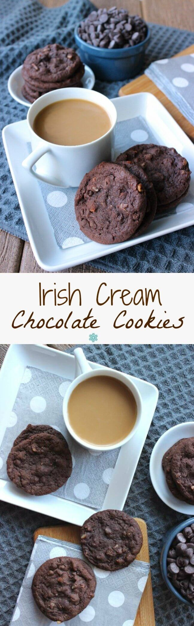 Irish Cream Chocolate Cookies sound and taste like gourmet cookies. Simple cookies that have a deep chocolate flavor and a unique sweetness. So good!