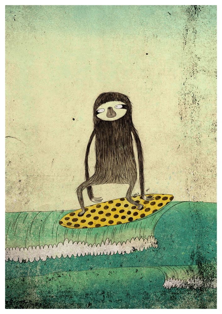 Surfing sloth A4 print by SurfingSloth on Etsy https://www.etsy.com/listing/96137994/surfing-sloth-a4-print