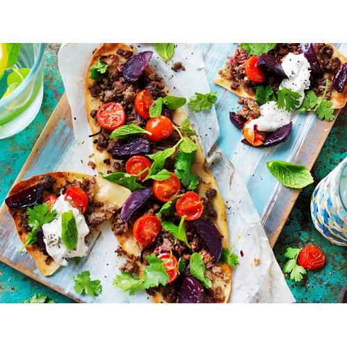 Beetroot & lamb flatbreads with tahini yoghurt recipe | Food To Love