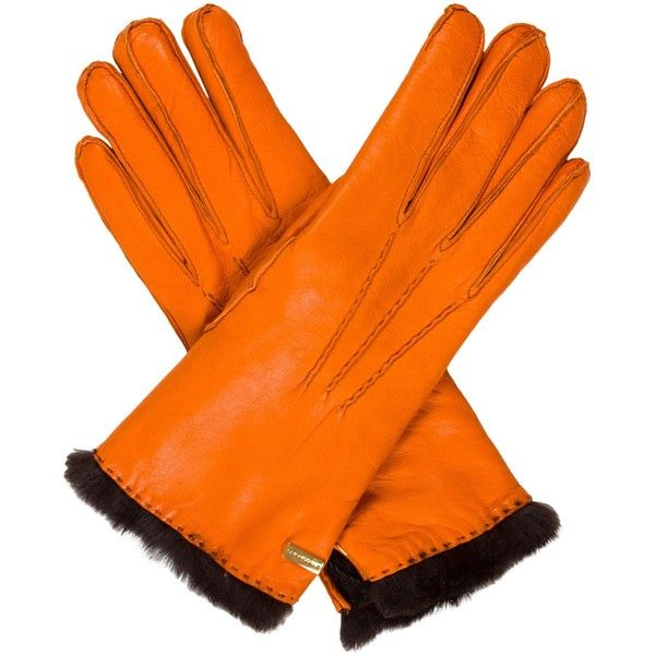 Pre-owned Les Copains Leather Fur-Trimmed Gloves ($95) ❤ liked on Polyvore featuring accessories, gloves, orange, orange gloves, les copains, real leather gloves, orange leather gloves and leather gloves
