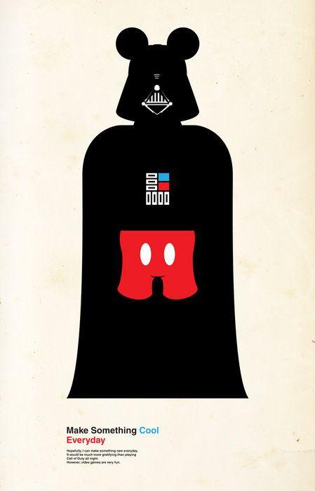 Darth vader meets Mickey mouse: Walt Disney, Darth Vader, Mickey Mouse, Darth Mickey, Art Prints, Dark Side, Disney Stars War, Starswar, Starwars
