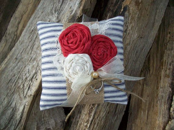 Country Ring Pillow, Burlap Wedding, Country Theme Wedding, Red Ring Pillow, Rustic Wedding