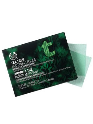 The Body Shop Tea Tree Oil Facial Blotting Tissues (60 per pack).The tissues do away with grease—not makeup—when lightly pressed against skin, and they deliver a dose of pore-cleansing tea tree oil while they're at it.