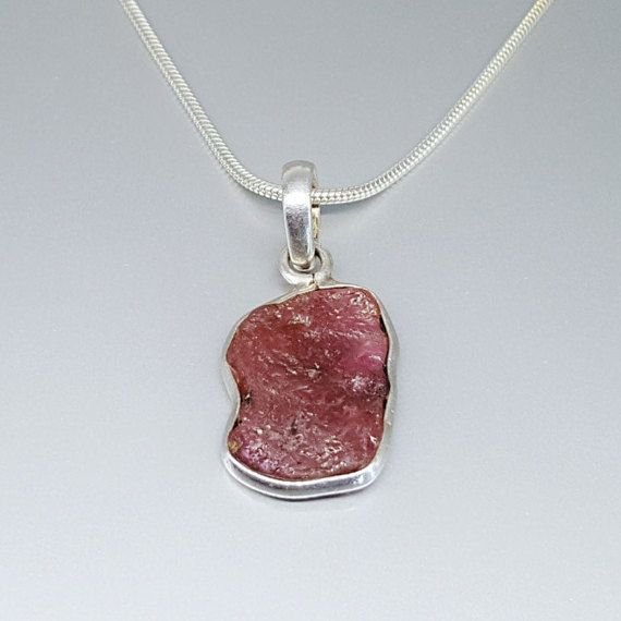 Check out Pink Tourmaline pendant with Sterling silver and chain - Rubellite - gift idea on gemorydesign
