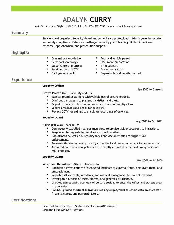 Security guard job description resume beautiful best