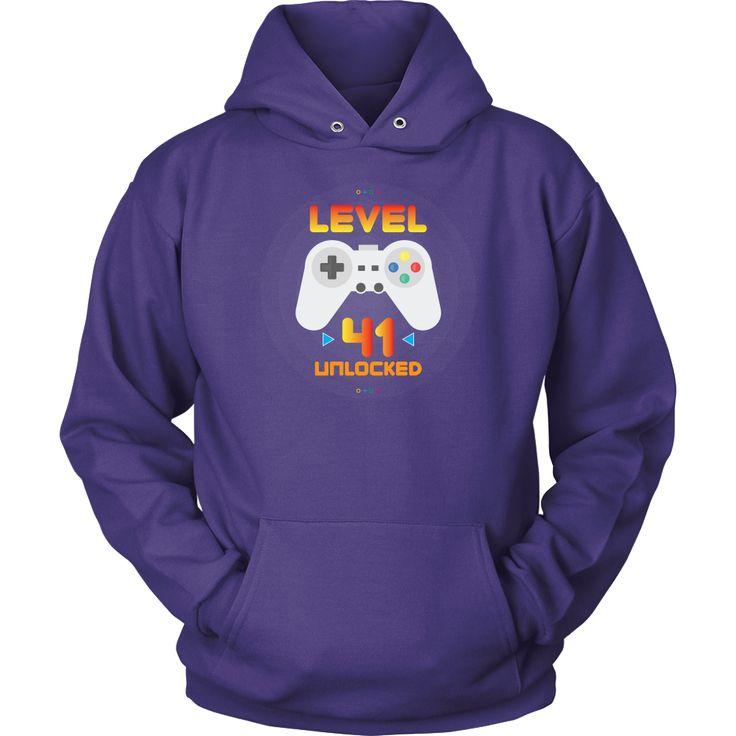41st Birthday Gift - Level 41 Unlocked Funny Gamer Hoodie