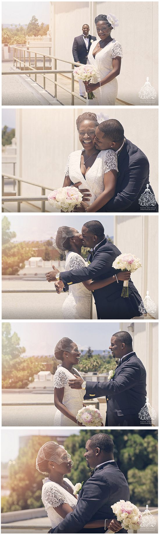 First Look. Beverly Hills Courthouse wedding by LA's premier Beverly Hills Courthouse and elopement wedding photographer. FAQ: http://faith-michele.com/beverly-hills-courthouse-wedding-faq/