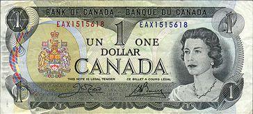 $ 1 billet canadien / Canadian $1 Bill (2/2)
