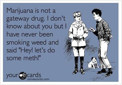 Marijuana is not a gateway drug. I dont know about you but I have never been smoking weed and said Hey! lets do some meth!