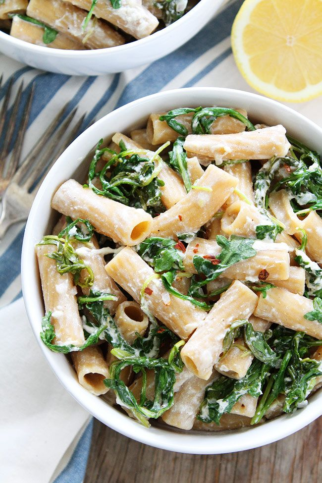 Lemon Arugula Pasta with Burrata Recipe on twopeasandtheirpod.com You only need 7 ingredients and 30 minutes to make this quick and easy pasta with lemon, arugula, and burrata cheese. It is a weeknight favorite!