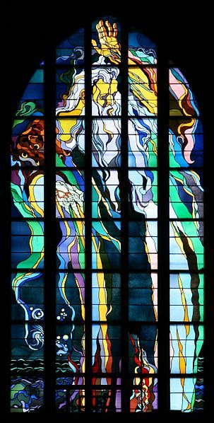 God the Creator by Stanisław Wyspiański, this window has no glass painting, but relies entirely on lead lines and skillful placement of color and tone. Franciscan Church, Kraków (c.1900)