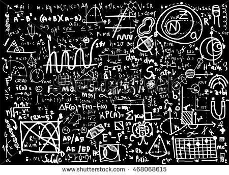 Physical formulas and phenomenons. hand-drawn illustration. science board with math. physics education at school. physics theory lesson.