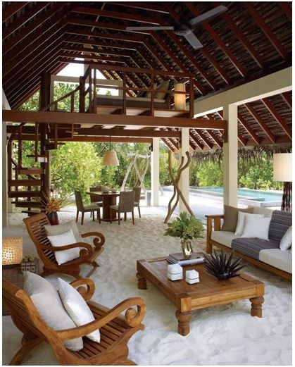 Love this idea!!! Create an oasis in your backyard by replacing a grassy area with soft white sand