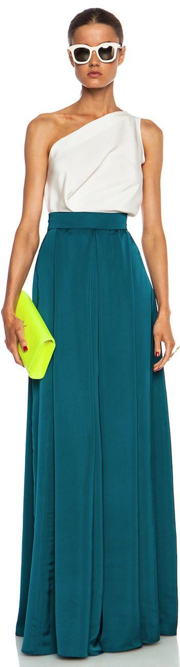 Solids & striking shapes Roksanda Ilincic ~ Long Duchesse Alia Viscose Skirt in Petrol
