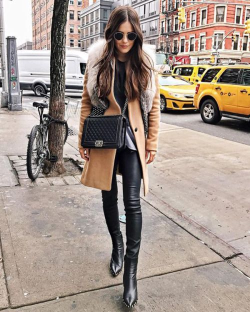 camel coat, fur trim, leather look leggings