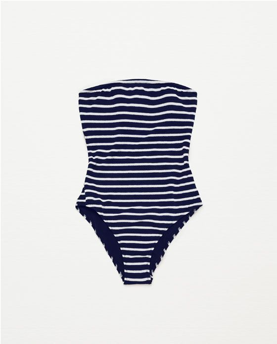 Image 4 of STRAPLESS STRIPED SWIMSUIT from Zara